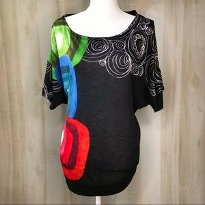 DESIGUAL Mix Print Dolman Tee Top